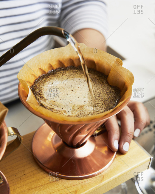 Pourover coffee being made