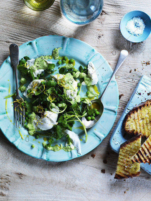 Lambs lettuce with mozzarella, lemon zest, peas, mint puree, and grilled bread