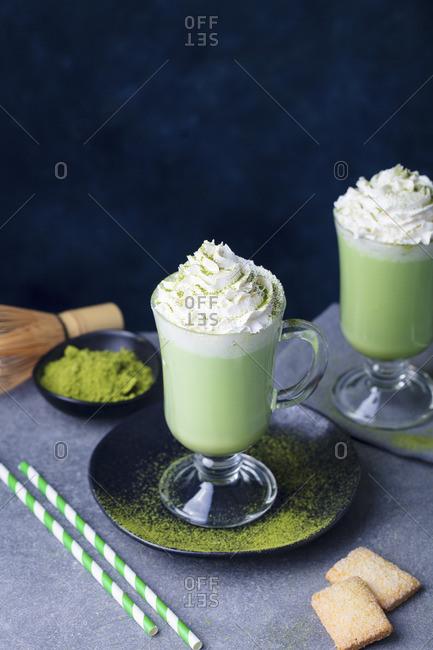 Matcha green tea latte with whipped cream