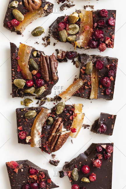 Chocolate with candied fruit and pistachios