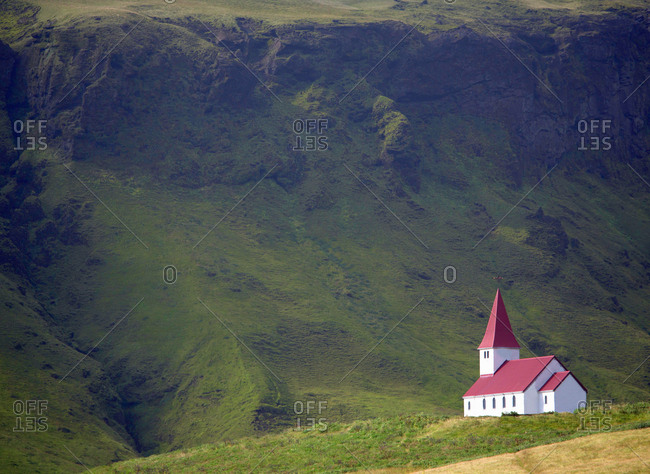 Christian church on hilltop in Vik, Iceland
