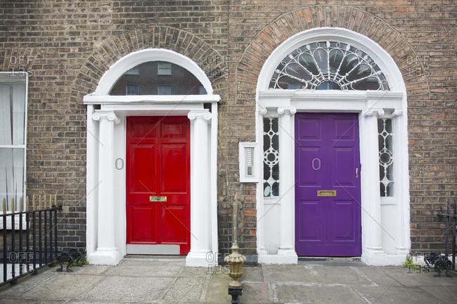 Georgian doors side by side in Dublin, Ireland