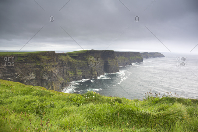 View of the Cliffs of Moher on rainy day, Ireland