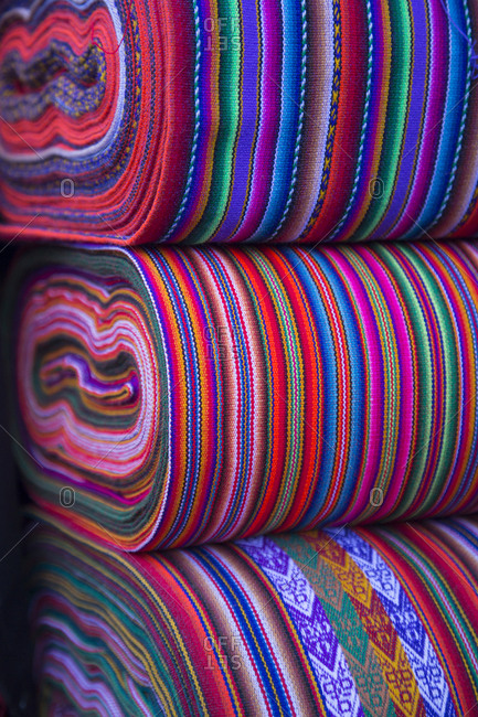 Colorful fabrics for sale, Cusco, Peru