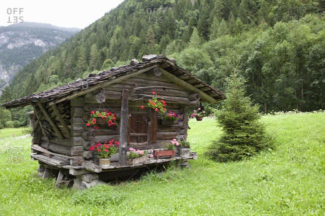 Farm hut for storing farm equipment near Zermatt, Switzerland