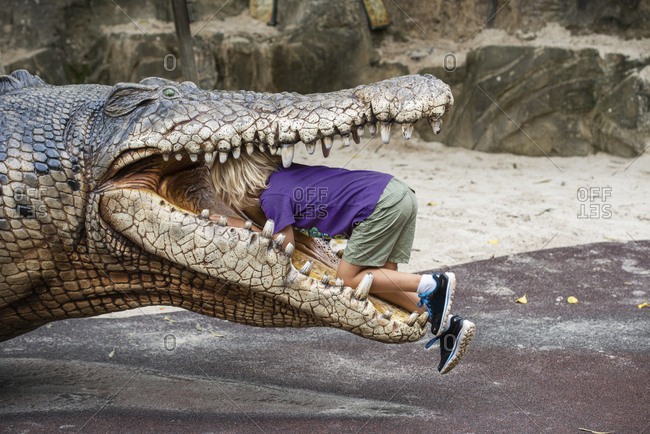 Boy climbing into crocodiles mouth, Australia
