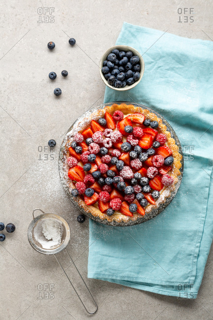 Top view of freshly made berry tart