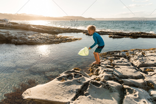 Blonde boy playing with net in tide pools on coast