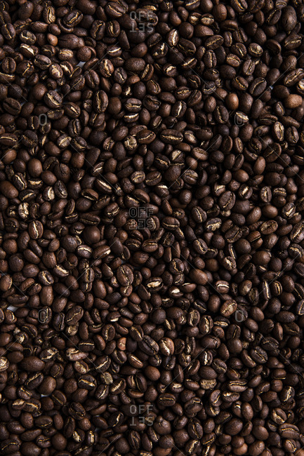 Brightly lit close-up of roasted coffee beans