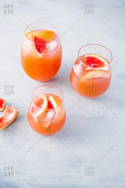 Three grapefruit cocktails