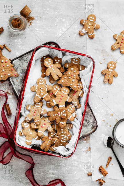 A box full of gingerbread cookies