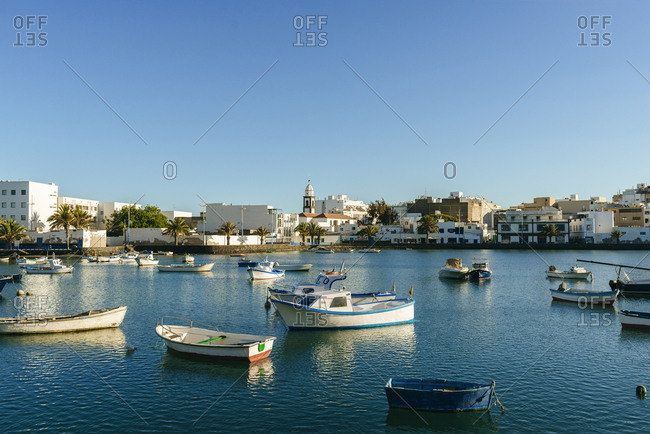 Landscape with boats in Arrecife capital of Lanzarote, Canary Islands, Spain