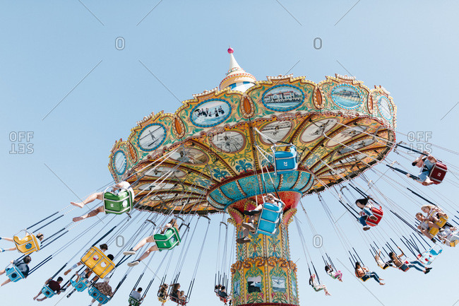 Santa Cruz, California - July 24, 2019: Swing ride at the Santa Cruz Boardwalk