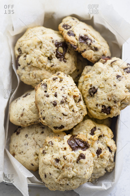 Chocolate chip cookies in a box