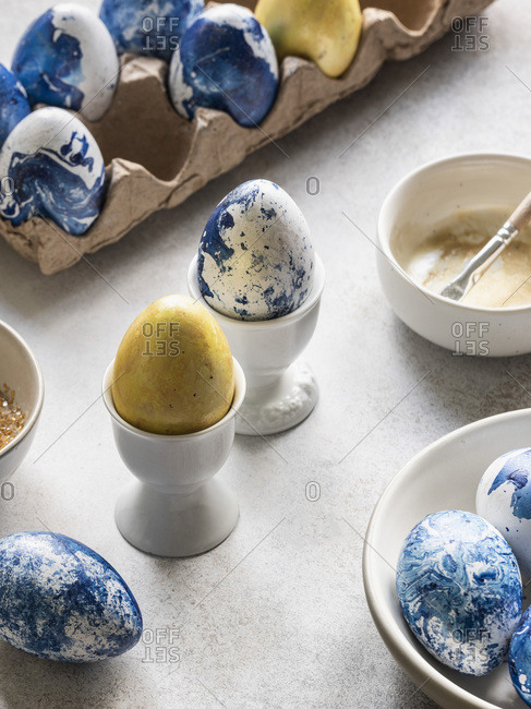 Blue and gold easter eggs.