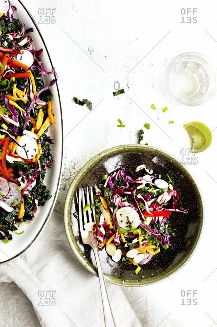 Toasted Sesame Radicchio Kale Salad