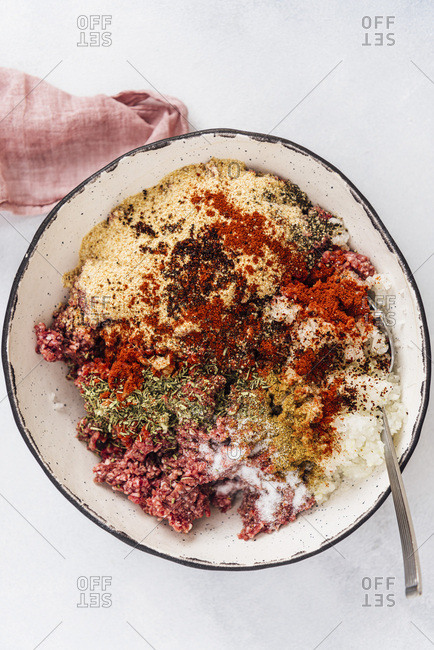 Turkish kofta ingredients in a ceramic bowl