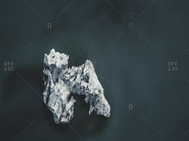 An iceberg photographed from above with a drone.
