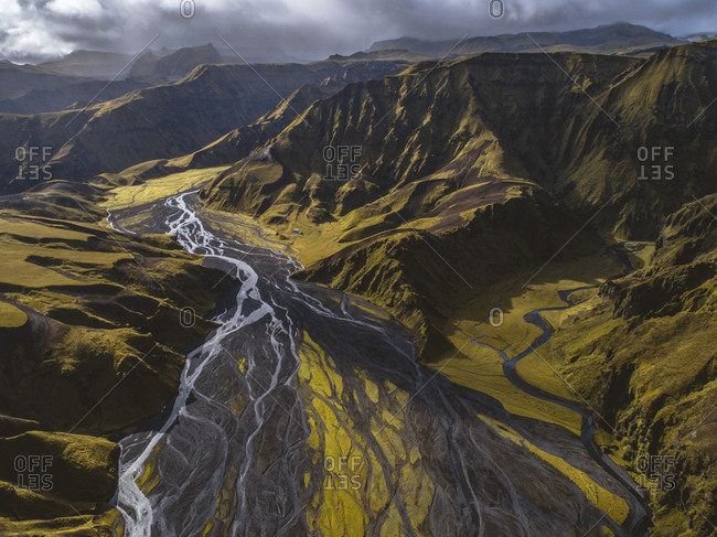 Drone image from above Argil, an area in Southern Iceland, over looking glacial rivers.