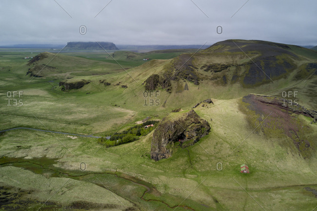 A view from a drone high above the landscape of the Southern Region of Iceland.