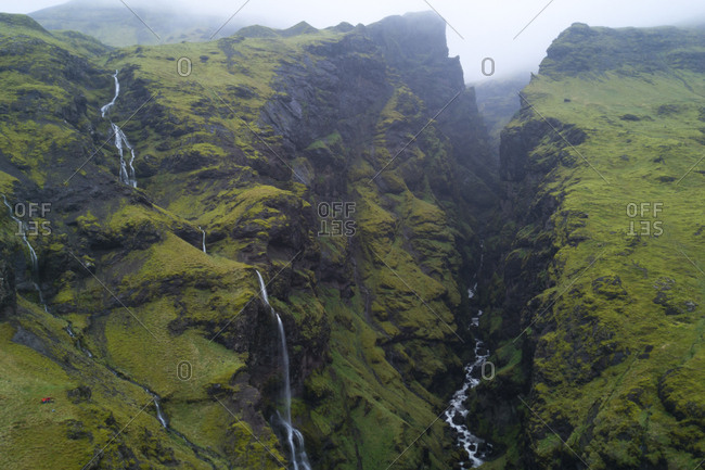 An Icelandic gorge in the Southern Region of Iceland near the city of Vik. Shot about 500 feet above the ground with a drone.