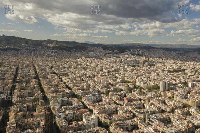 A view from a drone over Barcelona, Spain.