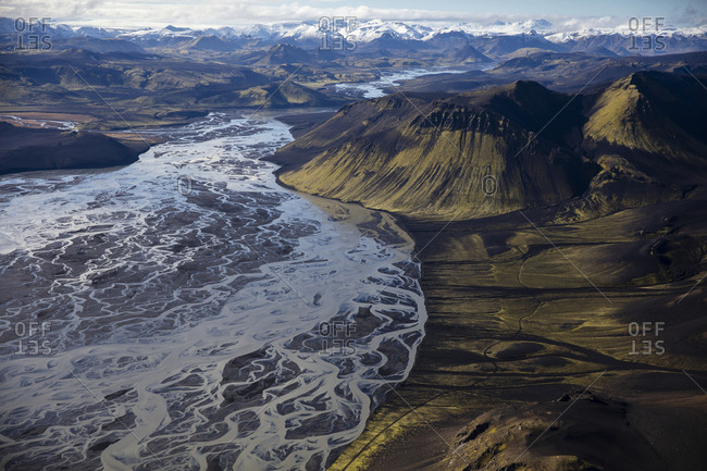 The braided rivers of Landmannalaugar, in the highlands of Iceland.