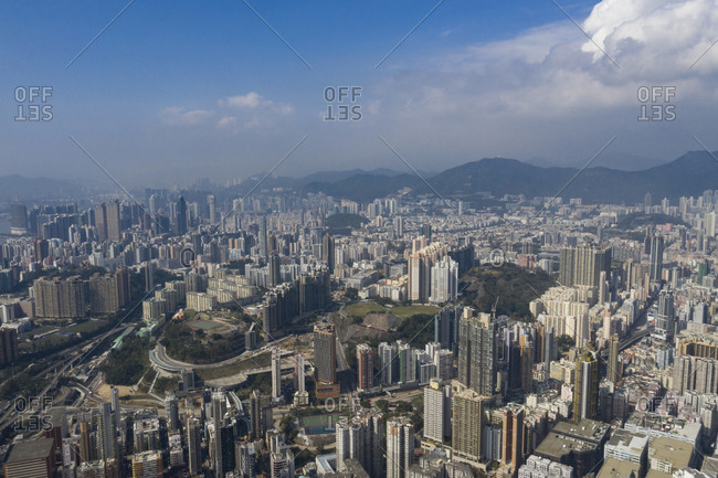 February 4, 2019: An aerial view of a clausxophpbic city, Hong Kong.