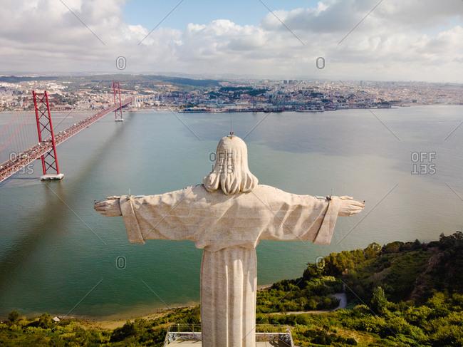 Aerial view of Cristo Rei statue, Lisbon, Portugal