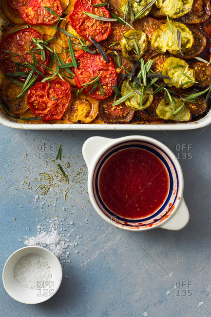 Baked tomatoes in a baking dish