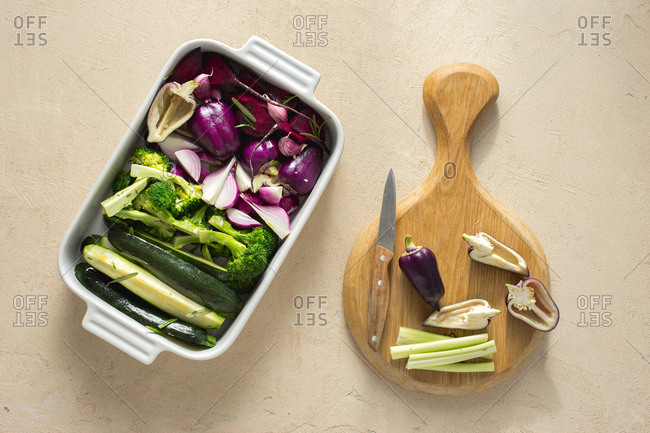 Raw vegetables in a baking tray