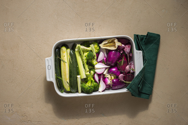 Raw vegetables ready to bake