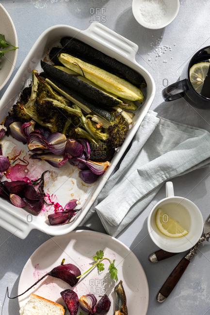 Vegetarian dinner with various baked vegetables