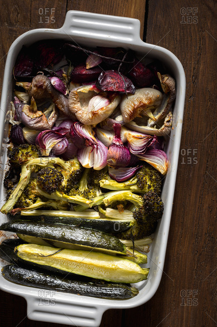 Cooked baked vegetables in a pan