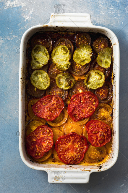 Baked tomatoes in a pan