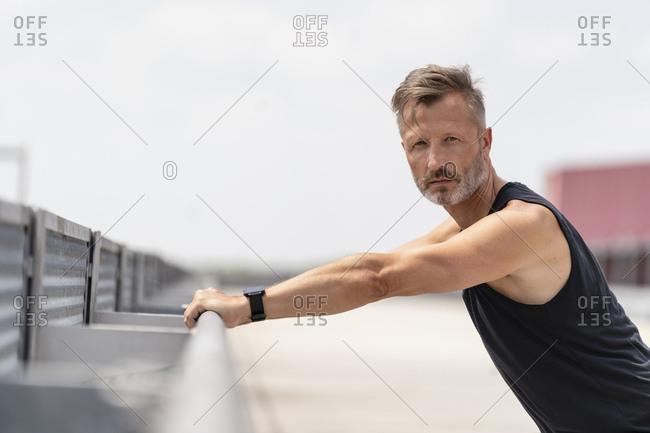 Sporty man outside