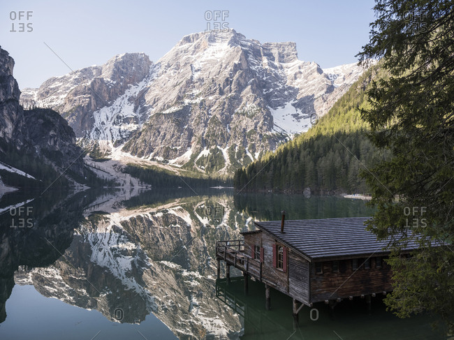 taly- South Tyrol- Dolomites- Lago di Braies- Fanes-Sennes-Prags Nature Park in the morning light