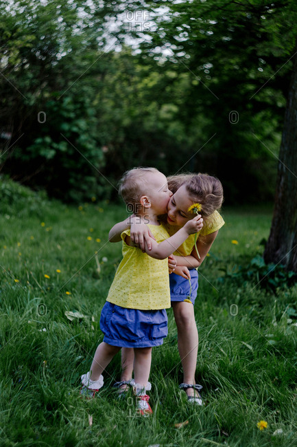 Little girl kissing her sister on a meadow