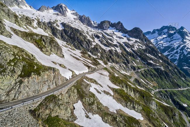 Switzerland- Canton of Uri- Aerial view of Sustain Pass