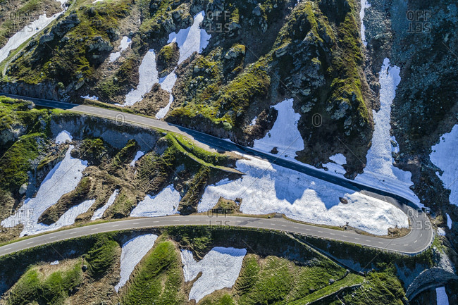 Switzerland- Canton of Uri- Aerial view of Sustain Pass