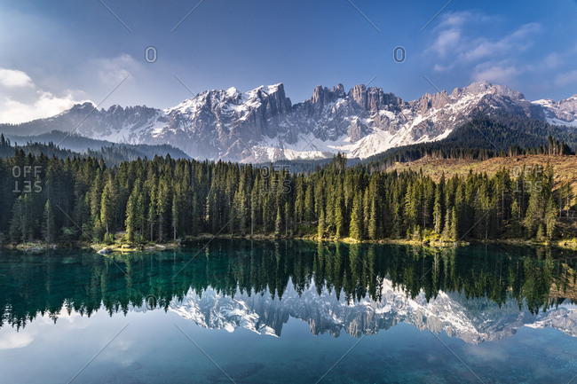 Mountain massif and Karersee- Dolomites- South Tyrol- Italy