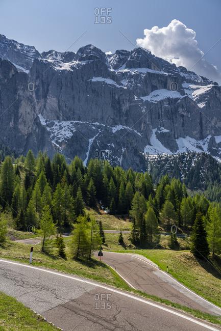 Mountain pass road- Gardena Pass- Sella group- Dolomites- South Tyrol- Italy