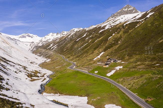 Aerial view over road to Rettenbach glacier- Soelden- Oetztal- Tyrol- Austria