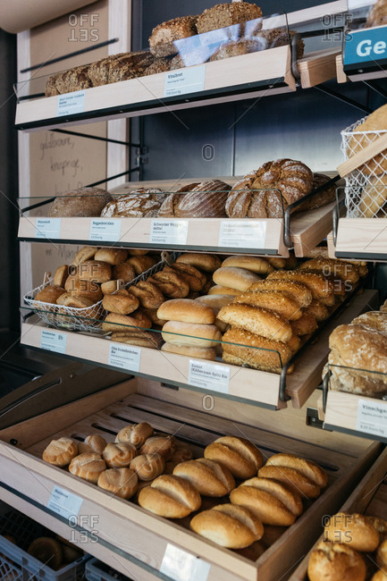 South Tyrol, Italy - September 25, 2018: Stocked shelves of a bakery