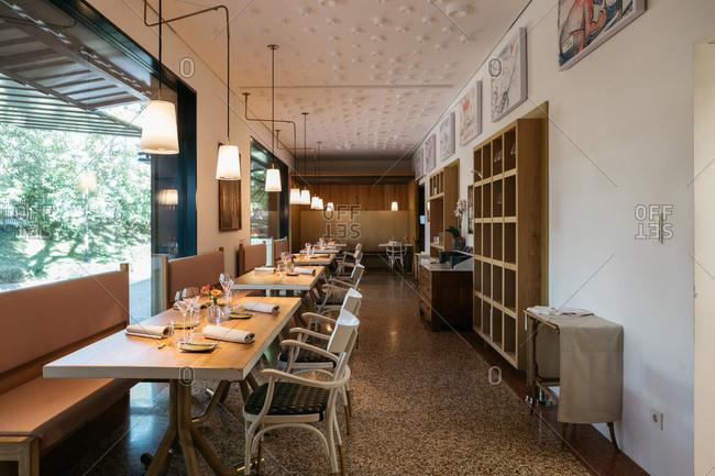 South Tyrol, Italy - September 25, 2018: Interior of an empty restaurant