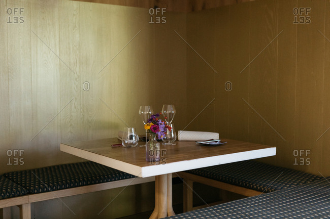 Set table in a restaurant in South Tyrol, Italy