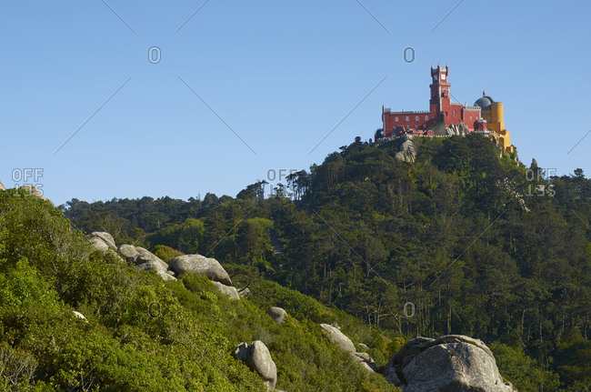 View of the Pena Palace from The Moorish Castle in Sintra, Portugal
