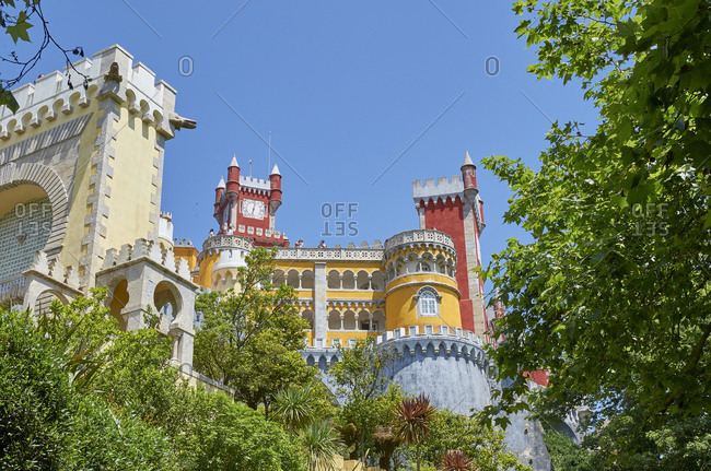 Low angle view of the Pena Palace in Sintra, Portugal