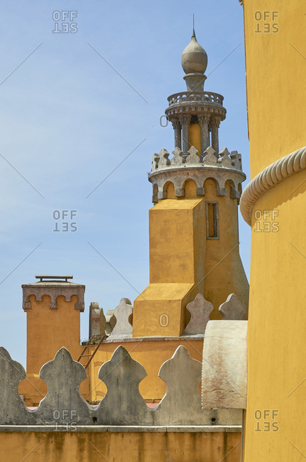 Yellow tower of the tower of the Pena Palace in Sintra, Portugal