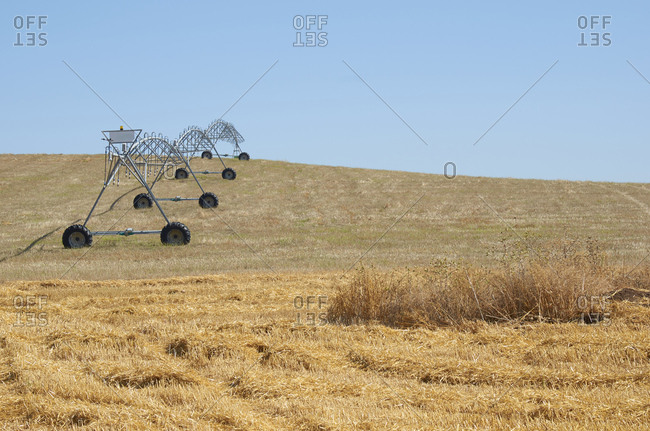 Agricultural irrigation machine on a farm field in the Alentejo region, Portugal